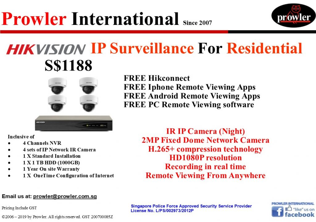 CCTV Singapore Package - 4 IP HD 1080P Camera
