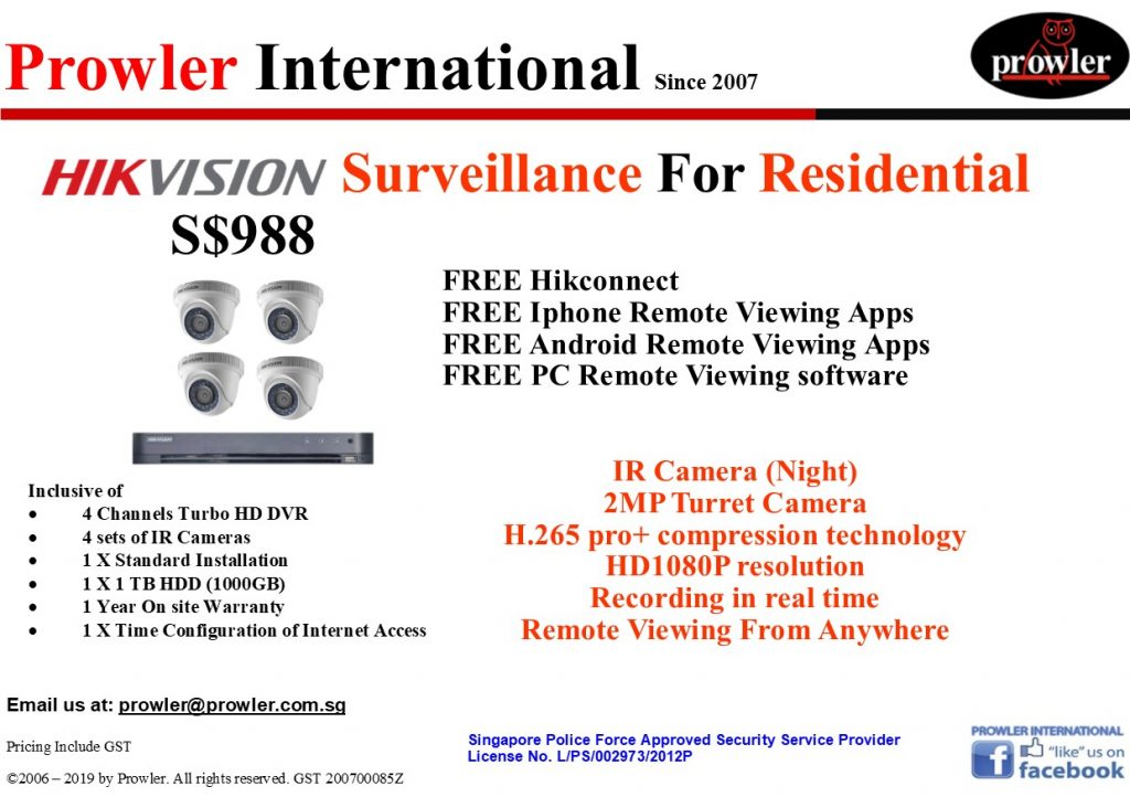CCTV Singapore Package - 4 Turbo HD Camera